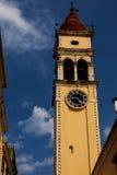 Blå himmel för tornklockaKorfu stad Fotografering för Bildbyråer