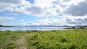 Blå himmel, gräsplan betar, det snöig berget och timelapse för blåttfjordsommar lager videofilmer