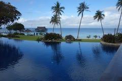 Blå himmel, hav och simbassäng med imponerande kokospalmer royaltyfria foton
