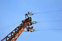 Blå himmel med telefonpolen royaltyfri bild