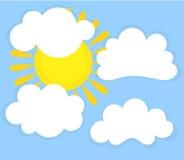 Blå himmel, moln och sol royaltyfri illustrationer