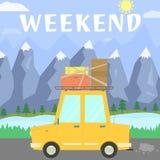 Blå himmel och bil royaltyfri illustrationer