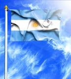 Blå himmel och mast med den hängda vinkande flaggan av Argentina stock illustrationer