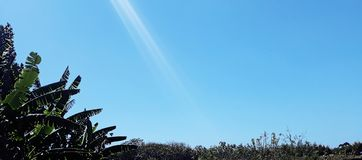 Blå himmel och reflexionssolljus royaltyfri bild