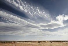 Blå himmel som fylls med vita moln ovanför prarielandskap fotografering för bildbyråer