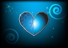 Blå hjärta på bakgrund Arkivfoton