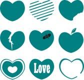 Blå hjärtavektorsamling Arkivfoto