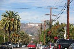 blå hollywood teckensky Arkivfoto