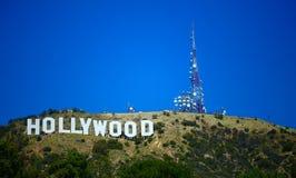 blå hollywood teckensky Royaltyfri Foto