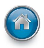 blå home symbol Fotografering för Bildbyråer