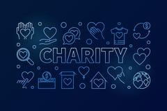 Blå horisontalillustration för välgörenhet - vektorlinje baner stock illustrationer