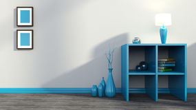Blå hylla med vaser, böcker och lampan Royaltyfri Bild