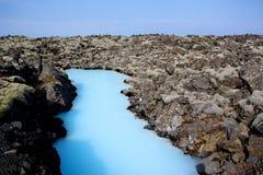 blå iceland lagun Arkivfoto