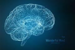 Blå illustration för vektor av sidan för hjärna 3d med synapses och glödande neurons Begreppsmässig bild av idéfödelse eller stock illustrationer