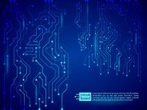 Blå illustration för vektor för strömkretsbräde Arkivbild