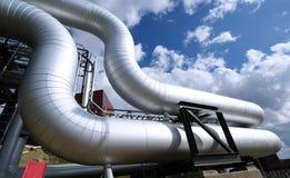blå industriell zon för pipelinesskystål Royaltyfria Bilder