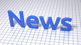 Blå inskrift på fyrkant fodrat papper nyheterna Grafisk illustration framförande 3d Bakgrund Royaltyfri Foto