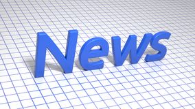 Blå inskrift på fyrkant fodrat papper nyheterna Grafisk illustration framförande 3d Bakgrund Fotografering för Bildbyråer