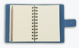 blå isolerad anteckningsbokspiralwhite Arkivfoto