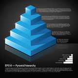 Blå isometrisk pyramid med text på varje nivå Arkivbilder