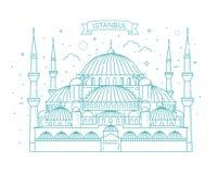 blå istanbul moskékalkon också vektor för coreldrawillustration Arkivbild