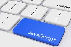 Blå JavaScripttangent på det vita PCtangentbordet framförande 3d stock illustrationer
