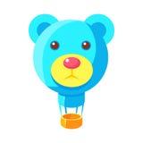 Blå Jelly Bear Head Shaped Hot luftballong, ganska landskap beståndsdel för sagagodisland i barnslig färgrik design Royaltyfria Foton