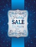 Blå jul bakgrund och etikett med försäljningsoffe Royaltyfria Bilder