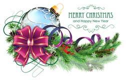 Blå jul klumpa ihop sig med lilapilbågen, och gran förgrena sig vektor illustrationer