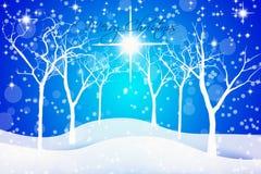 Blå julbakgrund för stjärnklar natt Arkivfoton
