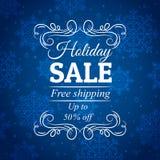 Blå julbakgrund med den till salu etiketten, vec Royaltyfri Bild