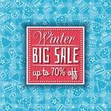 Blå julbakgrund med försäljningserbjudande Royaltyfria Foton