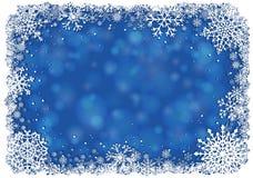 Blå julbakgrund med ramen av snöflingor vektor illustrationer