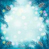 Blå julbakgrund med trädfilialer och s Royaltyfria Foton