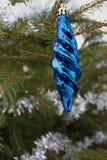 Blå julbauble Royaltyfri Foto