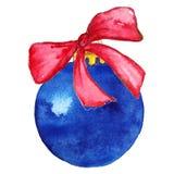 Blå julboll med bowen Fotografering för Bildbyråer