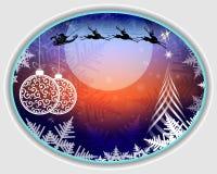 Blå juldesign med ramen royaltyfri illustrationer