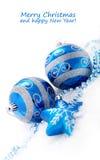 blå julgarnering för baubles Royaltyfri Fotografi