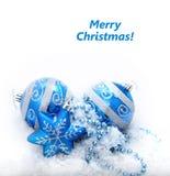 blå julgarnering för baubles Royaltyfri Foto