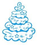 Blå julgran i snön med stjärnorna Arkivbild