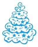 Blå julgran i snön med stjärnorna 1 Royaltyfri Foto