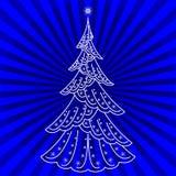 blå julgrantree Stock Illustrationer
