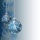 Blå julkort royaltyfri illustrationer