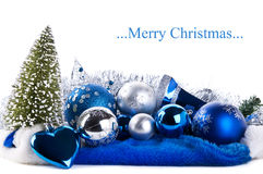 blå julsammansättning för bollar arkivbild