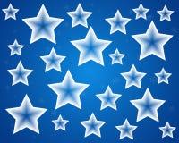 Blå julstjärnabakgrund Vektor Illustrationer