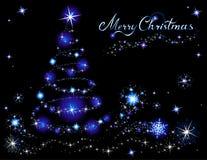 blå jultree Royaltyfri Bild
