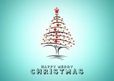 blå jultree för bakgrund Designbeståndsdelar för feriekort Royaltyfria Foton