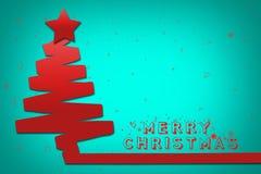 blå jultree för bakgrund glad jul illustration Arkivfoton