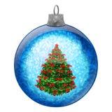 blå jultree för boll Arkivbilder