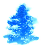 Blå julvattenfärgbakgrund med Arkivfoton